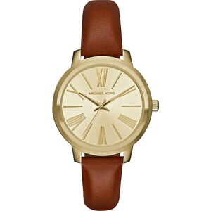 Michael Kors Montres, Hartman Watch Gold-Tone Leather Brown en cognac, or