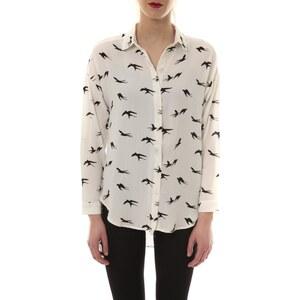 Comme Des Garcons Chemise Chemise Blanc Oiseaux Noir CH105
