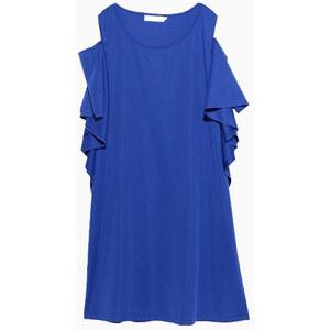 Lesara Plus Size Kleid mit Rüschenraffung - Blau - XL