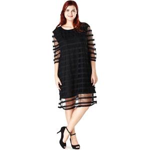 Lesara Chiffon Kleid in Streifen-Optik - Schwarz - XL