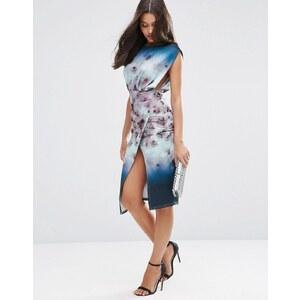 ASOS - Robe mi-longue style combinaison de plongée à imprimé fleuri flou - Multi
