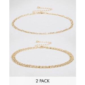 ASOS - Lot de deux colliers ras de cou à fines chaînes - Doré