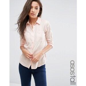 ASOS TALL - Schmales Hemd aus Twill - Gehaucht rosa