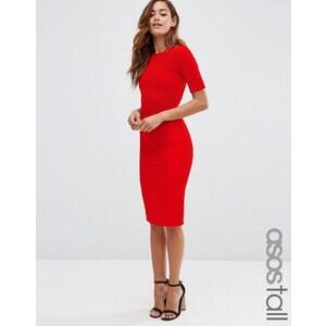 ASOS TALL - Robe moulante côtelée et structurée à coutures apparentes - Rouge