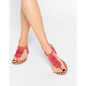 Daisy Street - Flache Sandalen mit Bommeln in Korallenrot - Rosa
