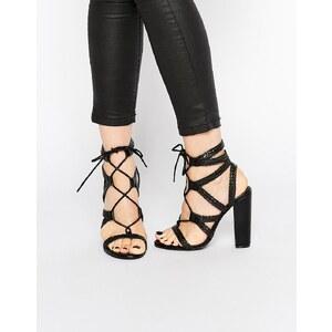 Missguided - Sandales tressées à talons carrés - Noir