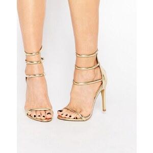 Public Desire Aisha Gold Strappy Heeled Sandal - Gold