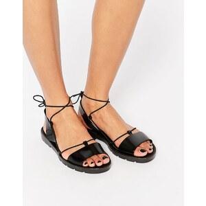 ASOS - FLUTTER - Sandales en plastique souple à nouer sur la jambe - Noir