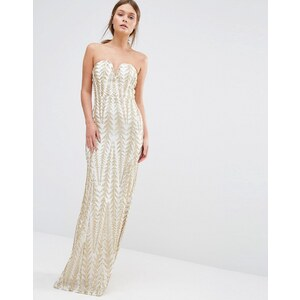 TFNC - Maxi robe bandeau à sequins - Doré