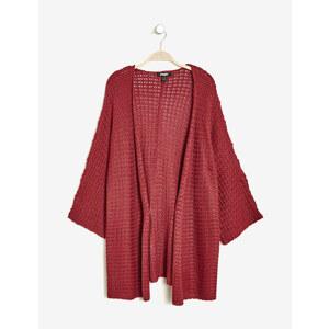 gilet kimono maille ajourée bordeaux Jennyfer