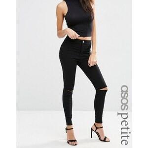 ASOS PETITE - Rivington - Jegging taille haute en jean avec déchirures aux genoux - Noir - Noir