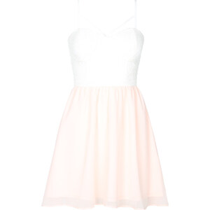 Tally Weijl Weiß-rosa Kleid mit Spitze