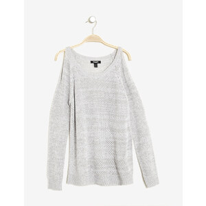 pull fin épaules ajourées gris chiné et blanc mouliné Jennyfer