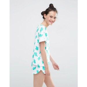 ASOS - Pyjama-Set mit T-Shirt und Shorts mit durchgehendem Kaktusprint - Mehrfarbig