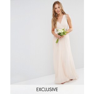 TFNC WEDDING - Robe longue plissée avec ornements - Rose