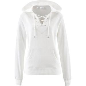 bpc bonprix collection Sweatshirt à capuche avec laçage blanc manches longues femme - bonprix