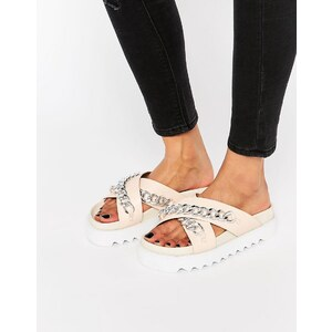 ASOS FOUNDED - Sandales plates à chaîne - Nude