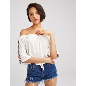 tee-shirt épaules dénudées écru Jennyfer