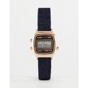 ASOS - Montre digitale avec bracelet en denim - Or rose - Bleu
