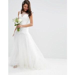ASOS BRIDAL - Maxi robe avec jupe en tulle et corsage princesse en dentelle - Blanc