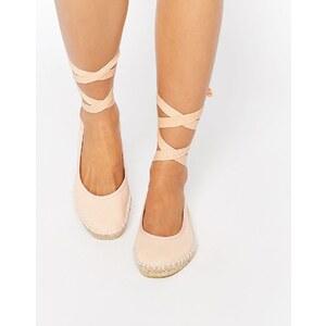 ASOS - JEMIMA - Espadrilles mit Ballettschnürung am Bein - Nude