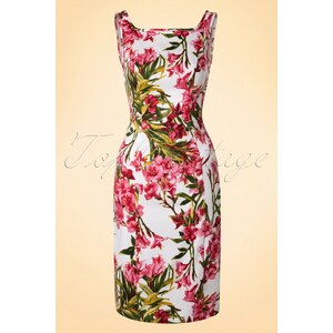 Hearts & Roses 50s Maureen Floral Pencil Dress in White