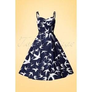 Aida Zak 50s Simona Swallow Swing Dress in Navy