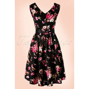 Dolly and Dotty 50s Petal Floral Swing Dress in Black