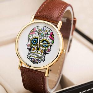 Lesara Armbanduhr mit Totenkopf-Design - Braun