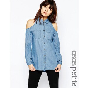 ASOS PETITE - Chemise en jean à épaules dénudées - Bleu délavé moyen - Bleu