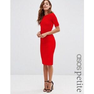 ASOS PETITE - Robe moulante côtelée et structurée à coutures apparentes - Rouge