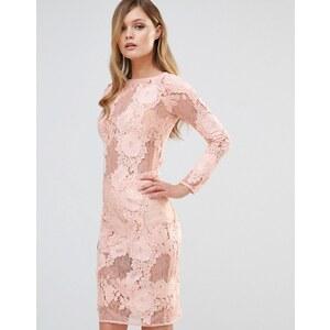 Dark Pink - Robe mi-longue en dentelle à manches longues - Rose