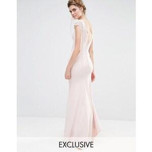 Jarlo - Robe longue boutonnée dans le dos pour mariage avec ourlet en pointe et mancherons en dentelle - Rose