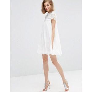 ASOS - Robe trapèze plissée coupe courte avec top en dentelle - Blanc