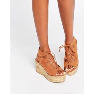 ASOS - TORCH - Chaussures lacées à semelles compensées - Marron