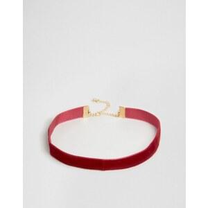 DesignB London - Collier ras de cou en velours - Bordeaux - Rouge