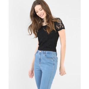 T-shirt dentelle noir, Femme, Taille L -PIMKIE- MODE FEMME