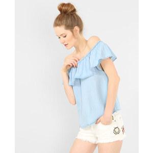 Top épaules denudées denim Femme -30% - Couleur bleu - Taille S -PIMKIE- LA MODE FEMME