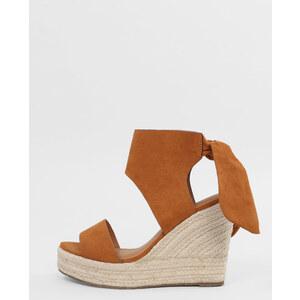 Sandales compensées à noeud marron, Femme, Taille 38 -PIMKIE- MODE FEMME