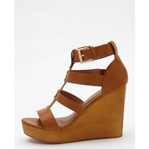 Sandales multibrides compensées Femme - Couleur marron - Taille 37 -PIMKIE- LA MODE FEMME