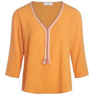 Blouse fluide détail fils tressés col Orange Elasthanne - Femme Taille 2 - Cache Cache