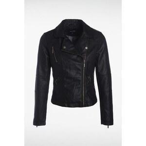 Blouson femme zippé façon cuir Noir Synthetique (polyurethane) - Femme Taille L - Bonobo