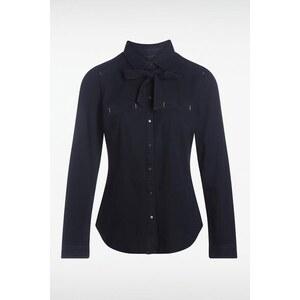Chemise femme cintrée unie noeud Bleu Coton - Femme Taille M - Bonobo