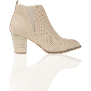 Boots façon cuir velours Beige Polyester - Femme Taille 37 - Cache Cache