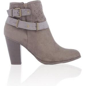 boots à talon et brides Vert Textile - Femme Taille 36 - Cache Cache