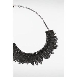 Collier femme perles feuilles métal Gris Polyester - Femme Taille TU - Bonobo
