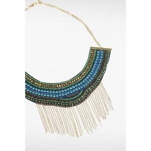 Collier femme plastron perles et métal Vert Polyester - Femme Taille TU - Bonobo