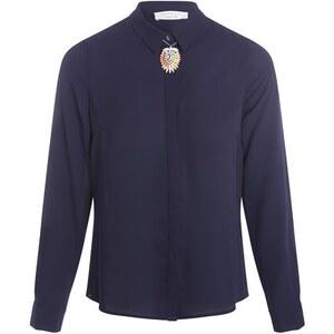 Chemise manches longues unies plis dos Bleu Polyester - Femme Taille 2 - Cache Cache