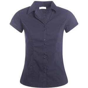Chemisier manches courtes Bleu Elasthanne - Femme Taille 0 - Cache Cache