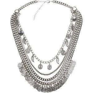 Collier chaines et disques métal Gris Metal - Femme Taille T.U - Cache Cache